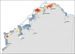 "DUGONG relative abundance ""hotspots"" mapped by GIS smoothing (extrapolation) methods of observed transect observations across a high resolution grid (~1.8 km x 1.8 km) for (b) proposed and existing marine reserve areas."