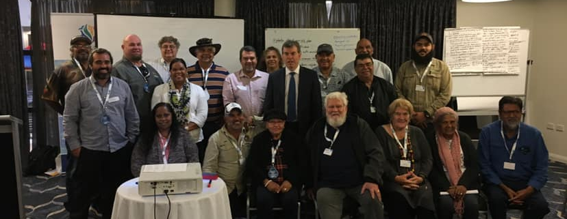 AMSA 2019 Indigenous Workshop Representatives shared an opportunity to meet with Fisheries Minister Dave Kelly MLA (Photo courtesy of Murujuga Aboriginal Corporation)